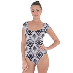 Hand Painted Black Ethnic Pattern Short Sleeve Leotard (Ladies)