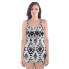 Hand Painted Black Ethnic Pattern Skater Dress Swimsuit