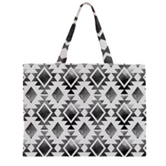 Hand Painted Black Ethnic Pattern Large Tote Bag