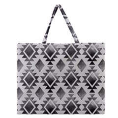 Hand Painted Black Ethnic Pattern Zipper Large Tote Bag