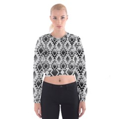 Hand Painted Black Ethnic Pattern Women s Cropped Sweatshirt