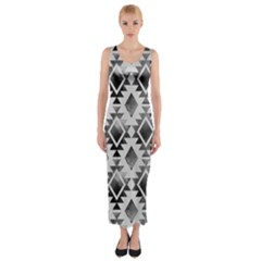 Hand Painted Black Ethnic Pattern Fitted Maxi Dress