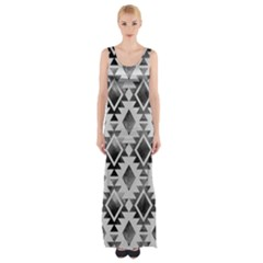 Hand Painted Black Ethnic Pattern Maxi Thigh Split Dress