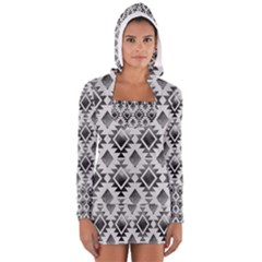 Hand Painted Black Ethnic Pattern Women s Long Sleeve Hooded T Shirt