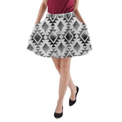 Hand Painted Black Ethnic Pattern A Line Pocket Skirt