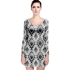 Hand Painted Black Ethnic Pattern Long Sleeve Velvet Bodycon Dress