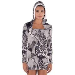 60s Mod Print Fab Women s Long Sleeve Hooded T Shirt