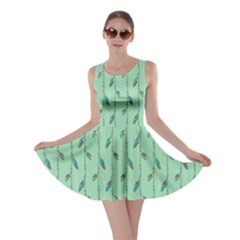 Seamless Lines And Feathers Pattern Skater Dress