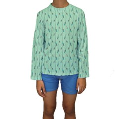 Seamless Lines And Feathers Pattern Kid s Long Sleeve Swimwear