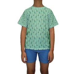 Seamless Lines And Feathers Pattern Kid s Short Sleeve Swimwear