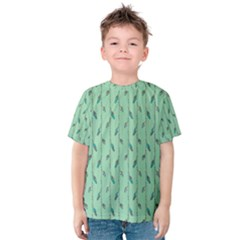 Seamless Lines And Feathers Pattern Kid s Cotton Tee