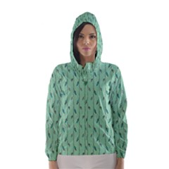 Seamless Lines And Feathers Pattern Hooded Wind Breaker (women)