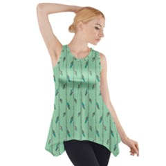 Seamless Lines And Feathers Pattern Side Drop Tank Tunic