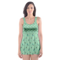 Seamless Lines And Feathers Pattern Skater Dress Swimsuit