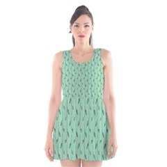 Seamless Lines And Feathers Pattern Scoop Neck Skater Dress