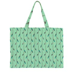 Seamless Lines And Feathers Pattern Zipper Large Tote Bag