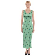 Seamless Lines And Feathers Pattern Fitted Maxi Dress