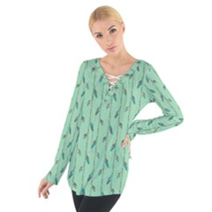 Seamless Lines And Feathers Pattern Women s Tie Up Tee