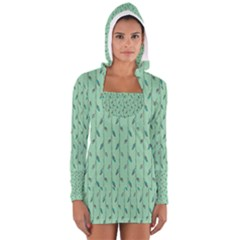 Seamless Lines And Feathers Pattern Women s Long Sleeve Hooded T Shirt