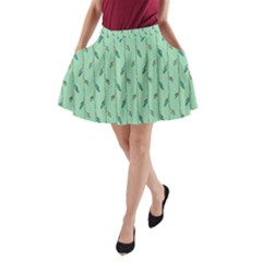 Seamless Lines And Feathers Pattern A-Line Pocket Skirt
