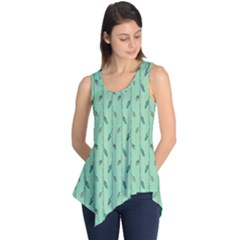 Seamless Lines And Feathers Pattern Sleeveless Tunic
