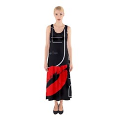 Greetings From Dubai  Red Lipstick Kiss Black Postcard UAE United Arab Emirates Full Print Maxi Dress