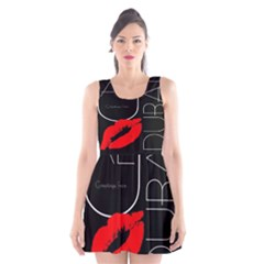 Greetings From Dubai  Red Lipstick Kiss Black Postcard UAE United Arab Emirates Scoop Neck Skater Dress