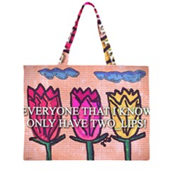 Two Lips   Tulips Large Tote Bag