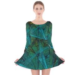 Weathered Long Sleeve Velvet Skater Dress