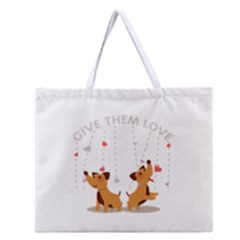 Give Them Love Zipper Large Tote Bag