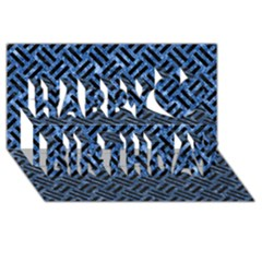 Woven2 Black Marble & Blue Marble (r) Happy Birthday 3d Greeting Card (8x4)