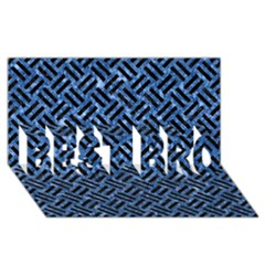 Woven2 Black Marble & Blue Marble (r) Best Bro 3d Greeting Card (8x4)