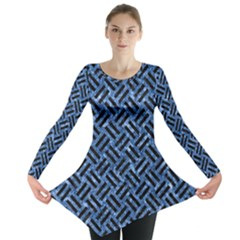 Woven2 Black Marble & Blue Marble (r) Long Sleeve Tunic