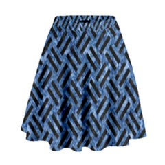 Woven2 Black Marble & Blue Marble (r) High Waist Skirt