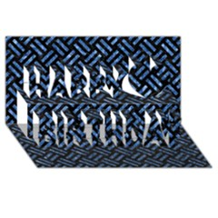 Woven2 Black Marble & Blue Marble Happy Birthday 3d Greeting Card (8x4)