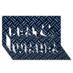Woven2 Black Marble & Blue Marble Best Wish 3d Greeting Card (8x4)