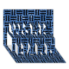 Woven1 Black Marble & Blue Marble (r) Work Hard 3d Greeting Card (7x5)
