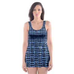 WOV1 BK-BL MARBLE (R) Skater Dress Swimsuit