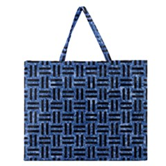 Woven1 Black Marble & Blue Marble (r) Zipper Large Tote Bag