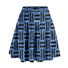 Woven1 Black Marble & Blue Marble (r) High Waist Skirt