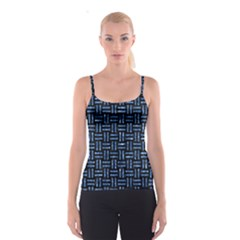 Woven1 Black Marble & Blue Marble Spaghetti Strap Top