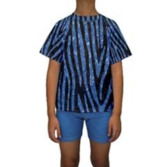 SKN4 BK-BL MARBLE (R) Kid s Short Sleeve Swimwear