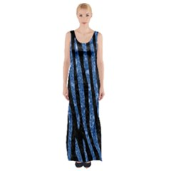 SKN4 BK-BL MARBLE (R) Maxi Thigh Split Dress