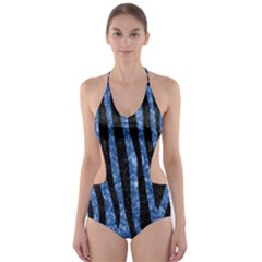 SKN4 BK-BL MARBLE Cut-Out One Piece Swimsuit