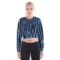Skin4 Black Marble & Blue Marble Cropped Sweatshirt