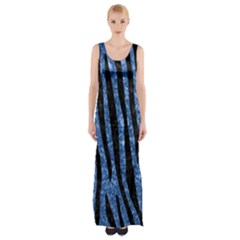 Skin4 Black Marble & Blue Marble Maxi Thigh Split Dress