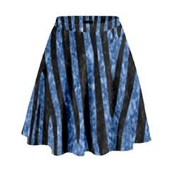 Skin4 Black Marble & Blue Marble High Waist Skirt