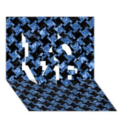 Houndstooth2 Black Marble & Blue Marble Love 3d Greeting Card (7x5)