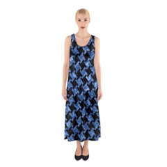 Houndstooth2 Black Marble & Blue Marble Sleeveless Maxi Dress