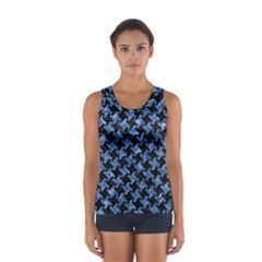 Houndstooth2 Black Marble & Blue Marble Sport Tank Top
